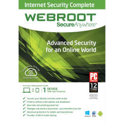 WEBROOT SECUREANYWHERE INTERNET SECURITY COMPLETE 3 DEVICES 1 YEAR