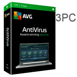 AVG ANTIVIRUS PRO 3 PC  1 YEAR