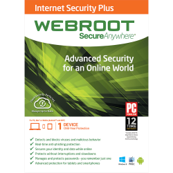 WEBROOT SECUREANYWHERE INTERNET SECURITY PLUS 1 YEAR  1 YEAR